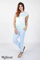 Трендовые брюки с лампасами для беременных CRAYON LIGHT, голубые