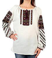 Жіноча вишиванка з машинною вишивкою на льоні, фото 1