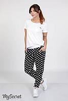 Летние брюки для беременных TORA, горох на черном с молочной отделкой, фото 1
