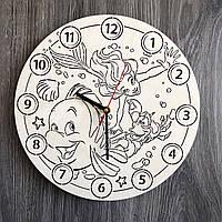 Бесшумные настенные часы в детскую «Русалочка Ариэль», фото 1