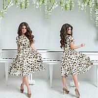 Женское шифоновое платье до колен под пояс с коротким рукавом в принт