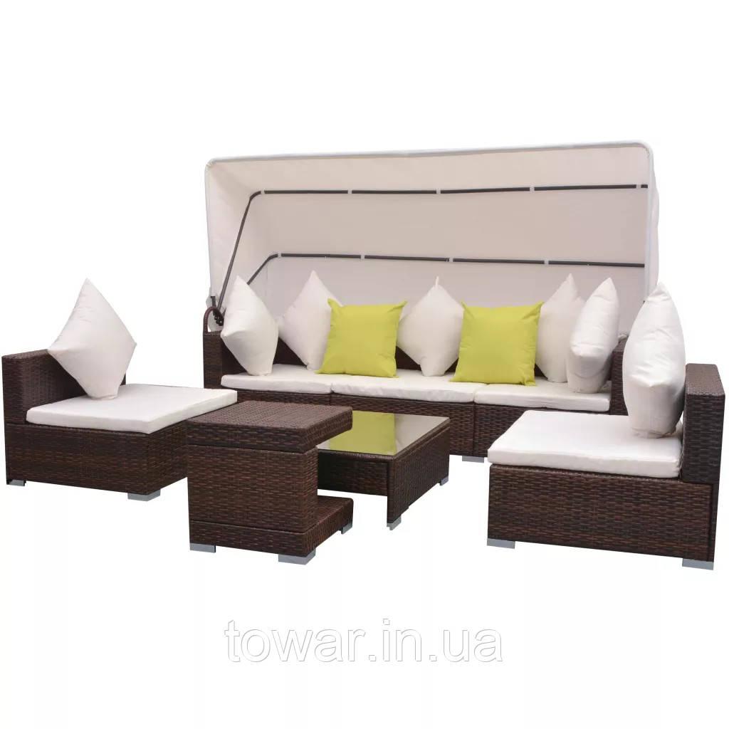 Комплект для садовых сидений, 23 части, кровля, полираттан  vidaXL - коричневой
