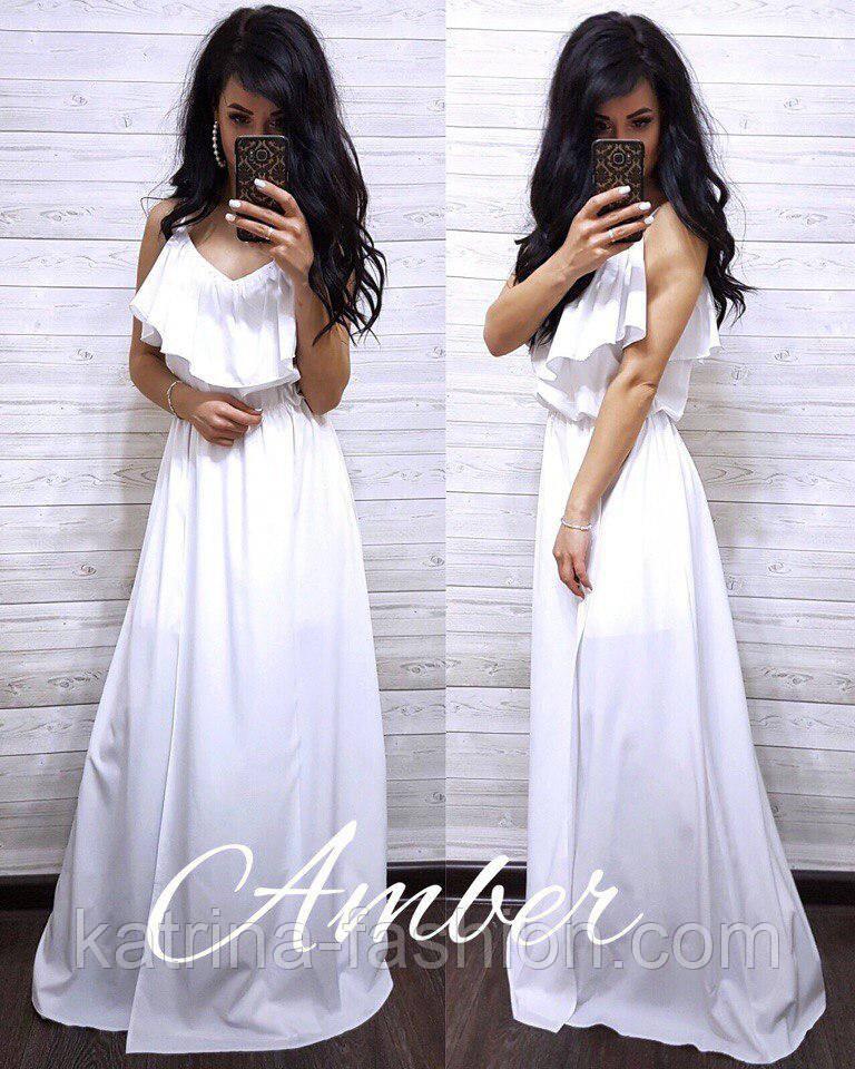 Женское однотонное платье в пол с воланом (3 цвета)
