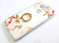 Чехол с кольцом для LG G5 силиконовый с рисунком цветы белый