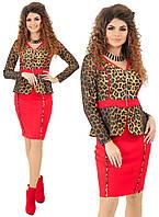 Стильный женский костюм двойка леопардовый принт, фото 1