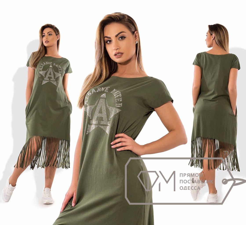 Летнее батальное платье с бахромой