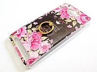 Чехол с кольцом для Asus Zenfone Max ZC550KL силиконовый с рисунком цветы розы темный