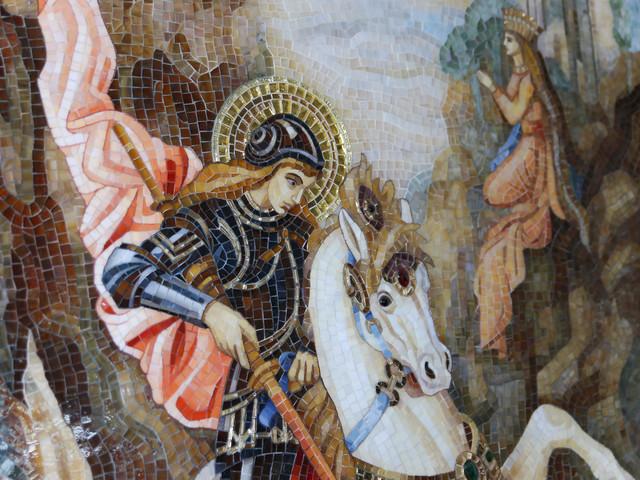 Картина Георгий Победоносец из стекла