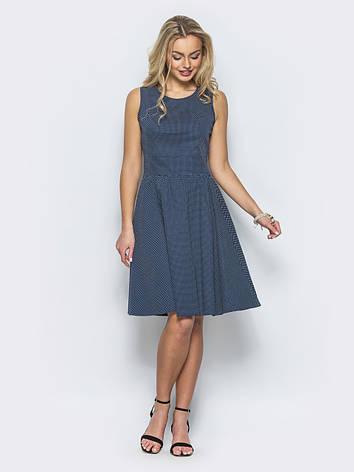 52f7d873c22fd3 Практичне плаття без рукавів з круглим вирізом горловини синій розмір  44,46,48,