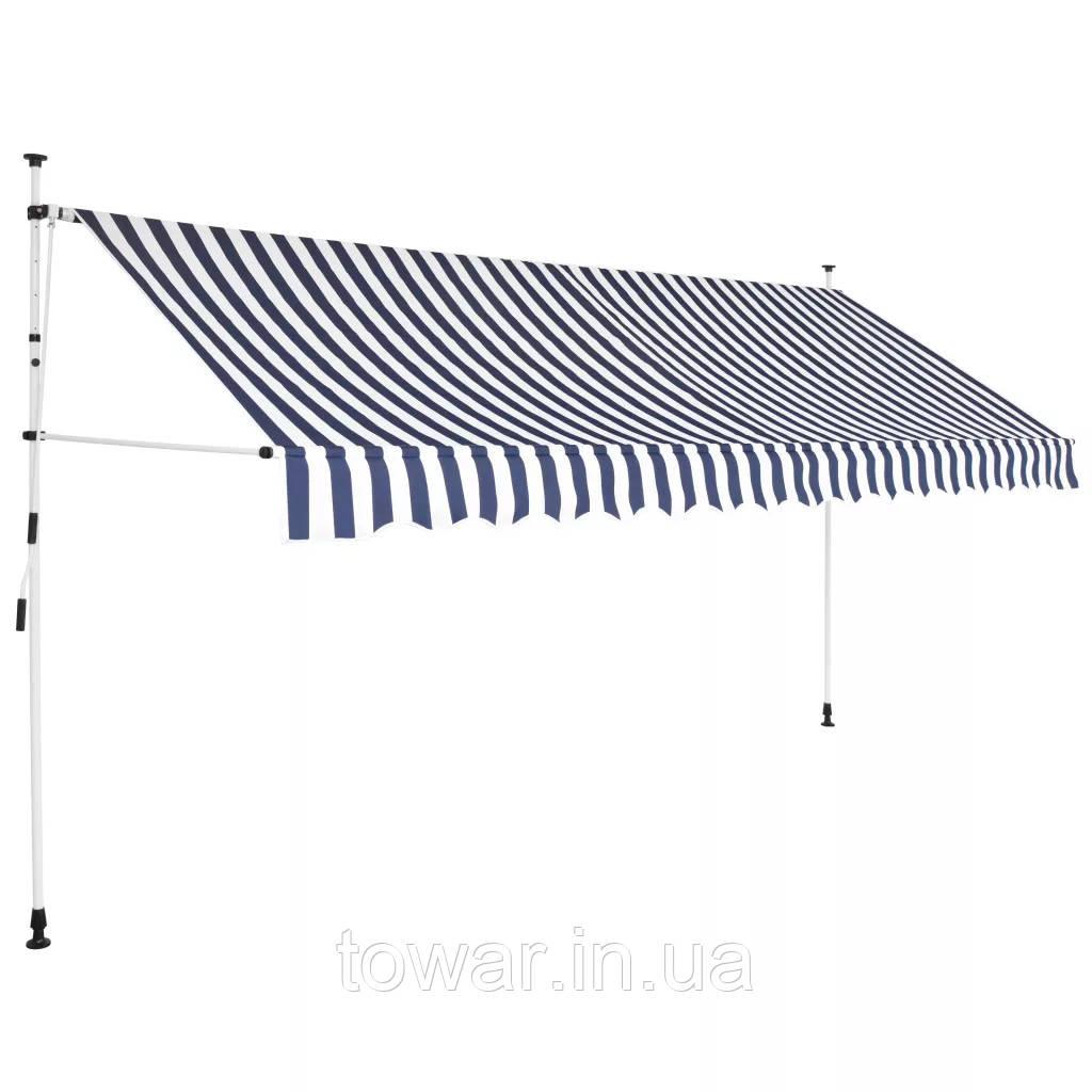 Маркиза 350 х 120 см синие и белые полосы vidaXL