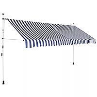 Маркиза 350 х 120 см синие и белые полосы vidaXL, фото 1