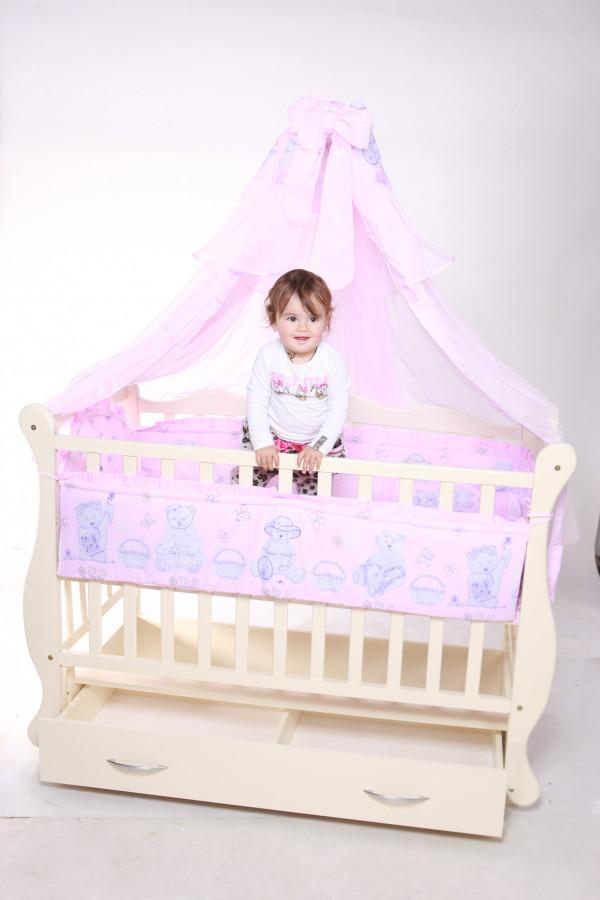 """Дитяче ліжечко  Кузя """"Юлія"""" Слонова кістка з відк.боковинкою та шухлядою."""