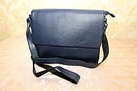 Сумка-месседжер синего цвета из натуральной кожи производства фирмы Chester Индия (10307)