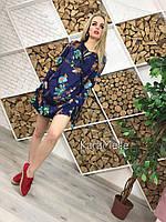 Платье туника свободное летнее с разрезом с цветами