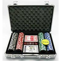 Покерный набор в кейсе (2 колоды карт +200 фишек)(24х32х9 см)(вес фишки 4 гр. d-39 мм) , Игровая коллекция