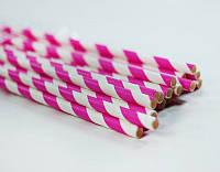 Трубочки для напитков бумажные розовые, 25 шт./уп.