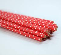 Трубочки для напитков бумажные красные, 25 шт./уп.