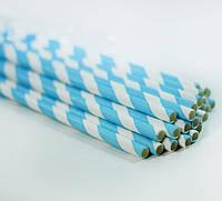 Трубочки для напитков бумажные голубые, 25 шт./уп.