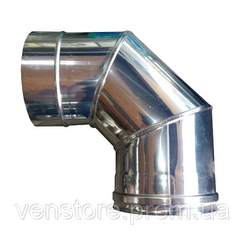 Колено (отвод) Ø120 90° из нержавеющей стали 1мм