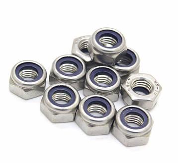 Гайка нержавеющая М4 DIN 985, ISO 10511 низкая самоконтрящаяся с нейлоновым кольцом, фото 2