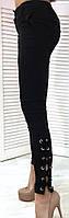Джинсы женские стрейчевые со шнуровкой на ноге, фото 1