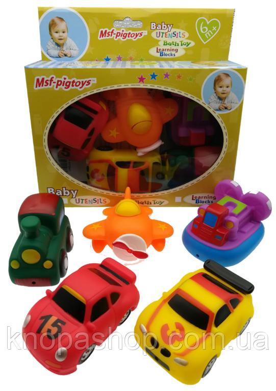 Набор резиновые игрушки. Транспорт 5шт в коробке   Msf-pigtoys