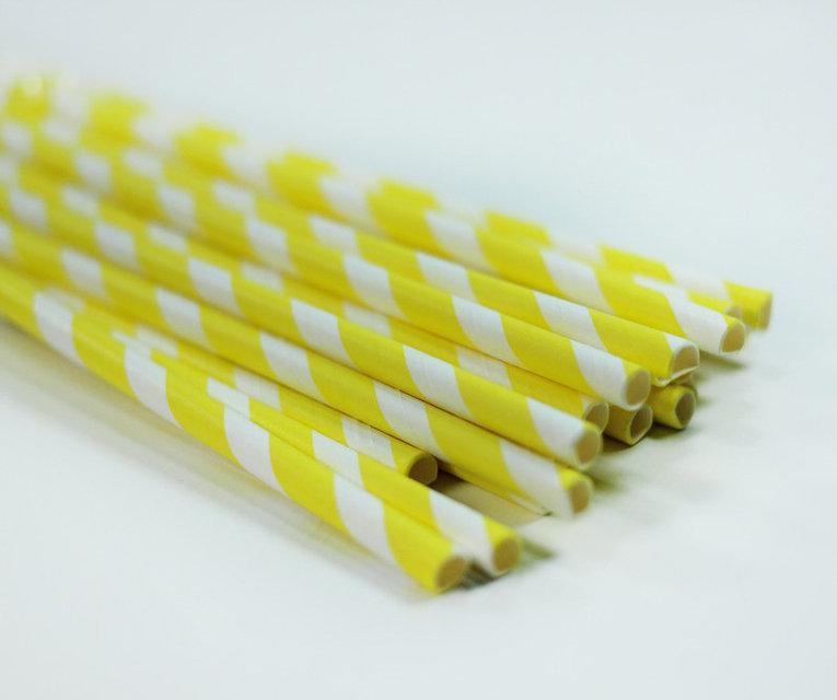 Трубочки для напитков бумажные желтыее, 25 шт./уп.