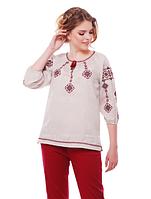 """Блуза з вишивкою натуральний льон """"Іванна"""" розміри в наявності, фото 1"""