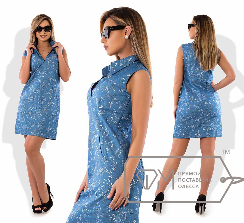 Джинсовое батальное платье с карманами