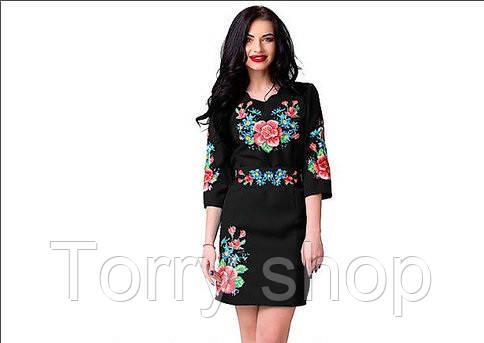 Вышитое женское платье черного цвета с цветами
