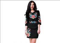 Вышитое женское платье черного цвета с цветами, фото 1