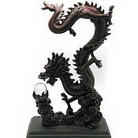 Дракон с хрустальной жемчужиной каменная крошка (36х13,5х12 см) , Статуэтки и фигурки