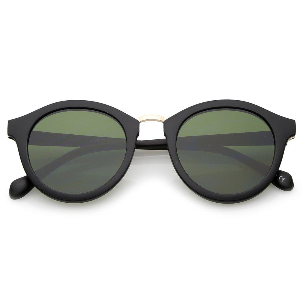 Женские круглые солнцезащитные очки в матовой чёрной оправе с золотой металлической вставкой