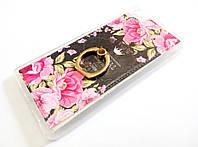 Чехол с кольцом для Huawei P8 Lite силиконовый с рисунком цветы розы темный