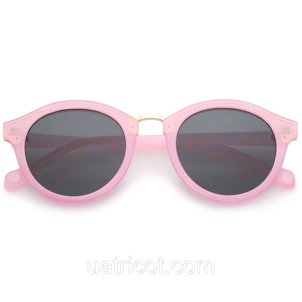 Женские круглые солнцезащитные очки в розовой оправе с золотой металлической вставкой