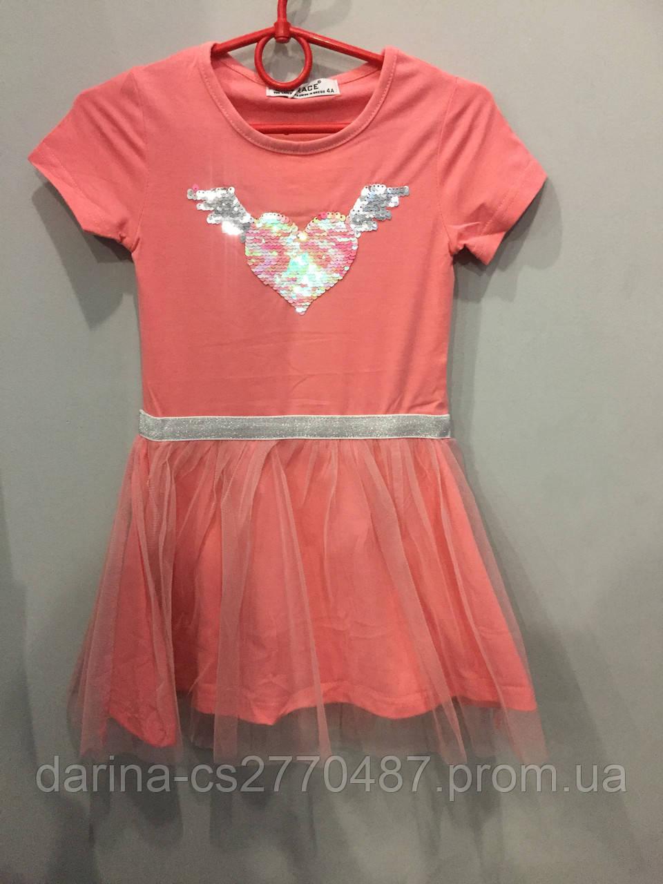 Платье с пайетками для девочки 4 г