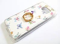 Чехол с кольцом для Samsung Galaxy S7 Edge g935 силиконовый с рисунком бабочки