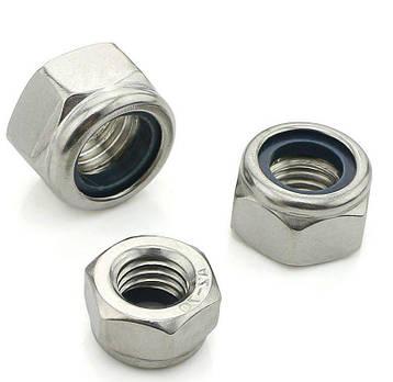 Гайка нержавеющая М8 DIN 985, ISO 10511 низкая самоконтрящаяся с нейлоновым кольцом, фото 2