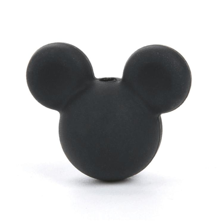 Міккі маус (чорний) намистини з харчового силікону