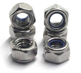 Гайка нержавеющая М10 DIN 985, ISO 10511 низкая самоконтрящаяся с нейлоновым кольцом, фото 2
