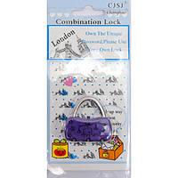 "Замок кодовый ""Сумочка"" фиолетовый (4х4х1 см) , Ножи, замки"