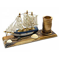 Парусник с подставкой для ручек (22х12х7 см) , Морская тематика