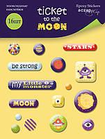 Набор эпоксидных наклеек 16шт отScrapmirTicket to the Moon