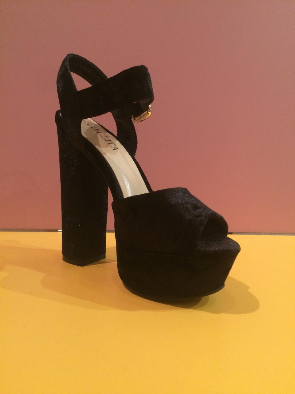 986783bd Черные бархатные босоножки на толстом каблуке , копия - JustYourStyle в  Харькове