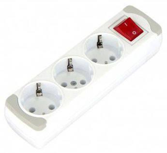 Колодка GUNSAN для удлинителя тройная с заземлением и выключателем серии SEMPATY, фото 2