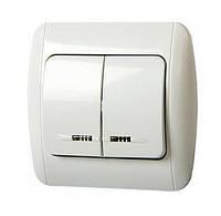 E.NEXT e.install.stand.812L+f.cer Выключатель двухклавишный с подсветкой и рамкой