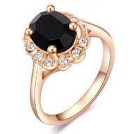 Кольцо с черным камнем р.17
