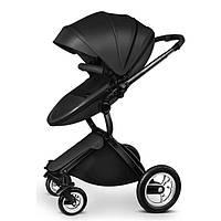 Детская коляска-трансформер 2в1 Kid1st Черная эко-кожа Прогулочная и люлька