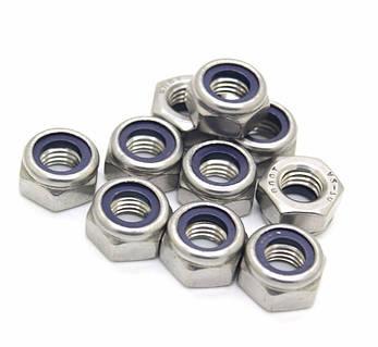 Гайка нержавеющая М14 DIN 985, ISO 10511 низкая самоконтрящаяся с нейлоновым кольцом, фото 2