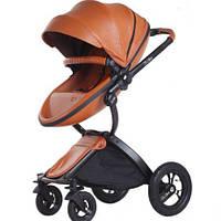 Детская коляска-трансформер 2в1 Kid1st Коричневая эко-кожа Прогулочная и люлька